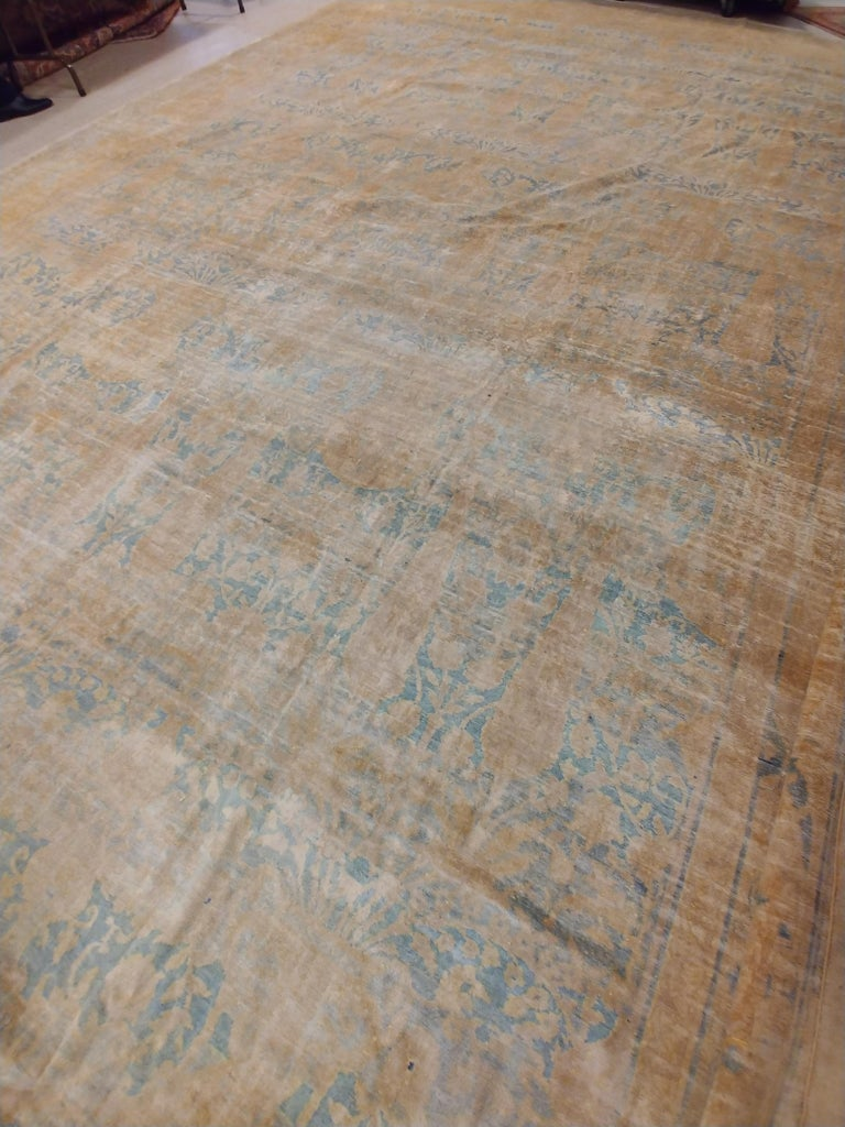 Antique Indian Agra Carpet, Handmade Oriental Rug, Light Blue, Gold, Ivory, Soft In Good Condition For Sale In New York, NY