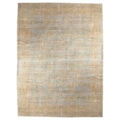 Antique Indian Agra Carpet, Handmade Oriental Rug, Light Blue, Gold, Ivory, Soft