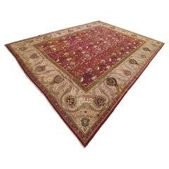 Antique Indian Agra Carpet, Hunting Rugs, Oriental Rugs, Red, Gold, Ivory, Brown