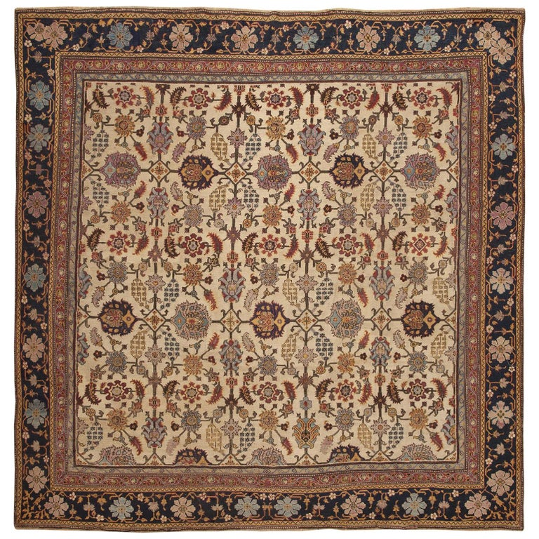 Antique Indian Agra Rug. Size: 11 ft 5 in x 11 ft 5 in (3.48 m x 3.48 m) For Sale