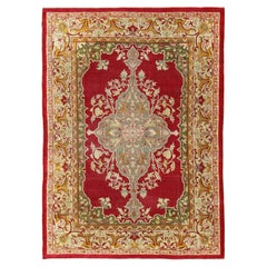 Antique Indian Agra Rug with a Unique Design in Red, Green, Gold