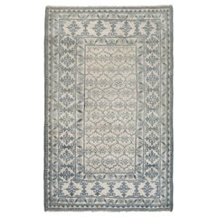 Antique Indian Agra White and Indigo Blue Hand Knotted Cotton Rug