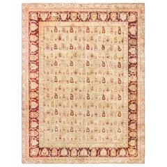 Antique Indian Amritsar Beige & Brown Handwoven Wool Rug