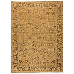 Antique Indian Amritsar Tan & Dark Brown Hand-knotted Wool Rug