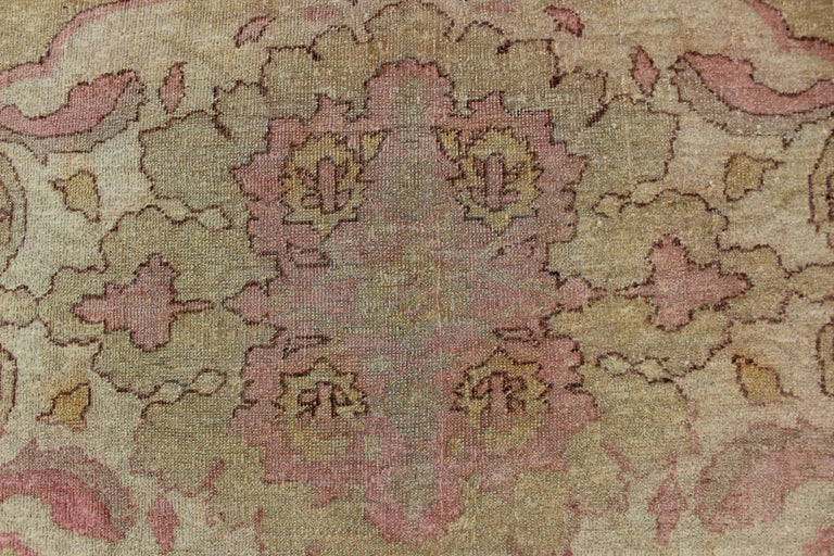 Antique Indian Amritsar Rug in Acidic Yellow green, Pink and Ivory For Sale 4
