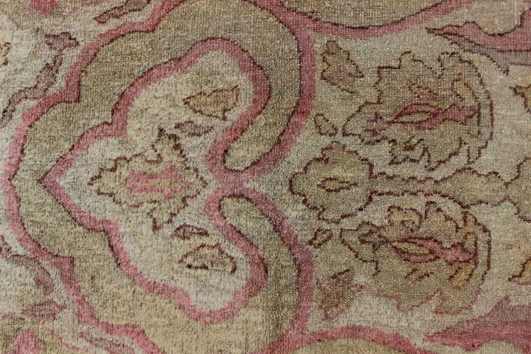 Antique Indian Amritsar Rug in Acidic Yellow green, Pink and Ivory For Sale 6