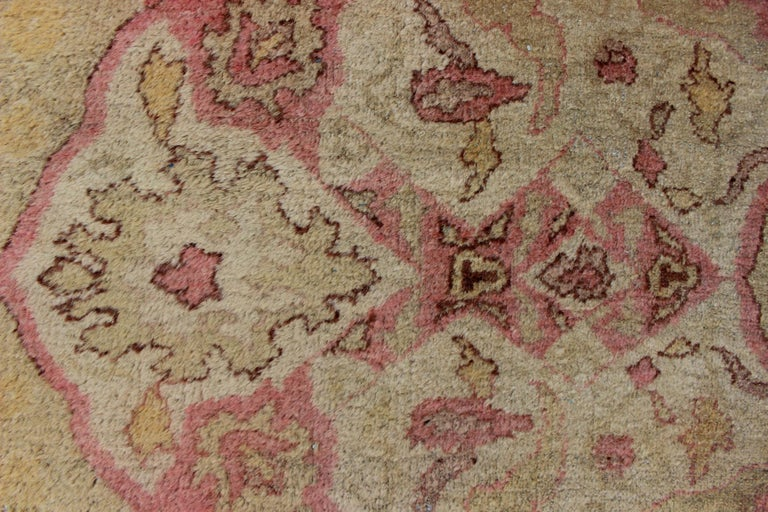 Antique Indian Amritsar Rug in Acidic Yellow green, Pink and Ivory For Sale 7