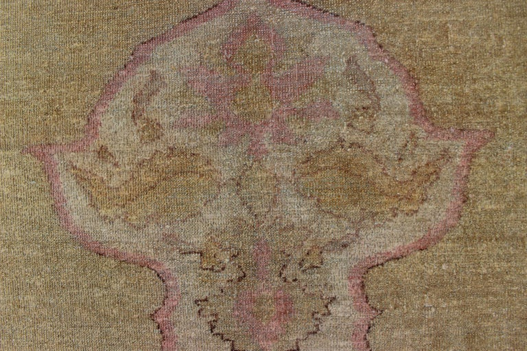 Antique Indian Amritsar Rug in Acidic Yellow green, Pink and Ivory For Sale 8