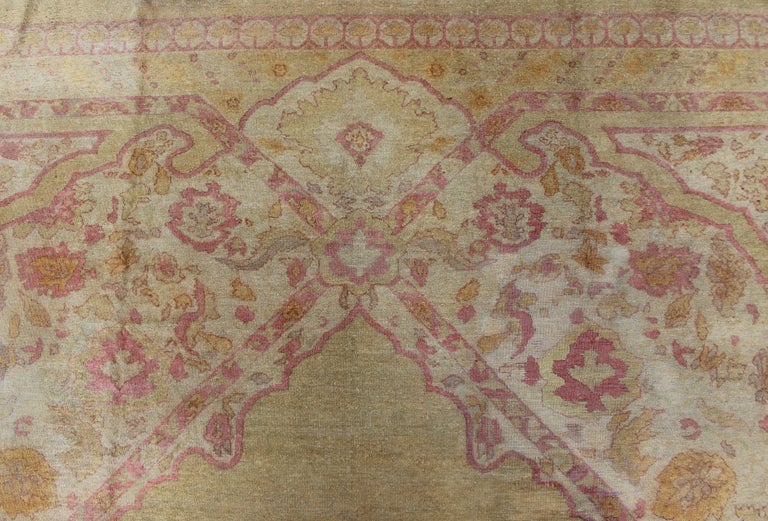 Antique Indian Amritsar Rug in Acidic Yellow green, Pink and Ivory For Sale 10