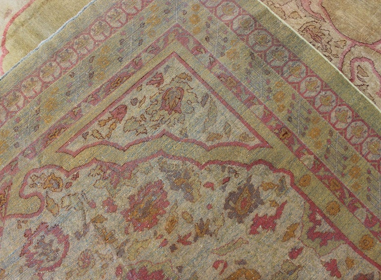 Antique Indian Amritsar Rug in Acidic Yellow green, Pink and Ivory For Sale 12