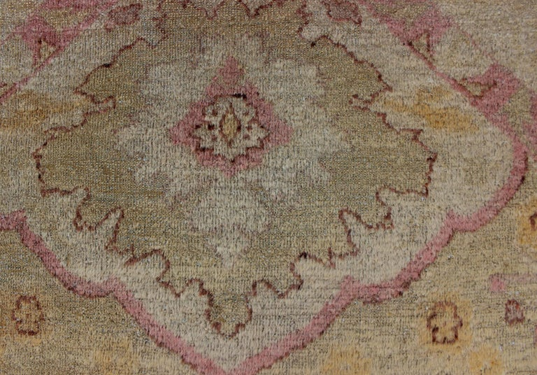 Antique Indian Amritsar Rug in Acidic Yellow green, Pink and Ivory For Sale 13
