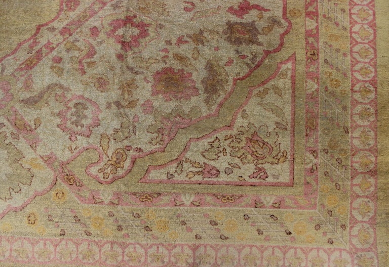 Antique Indian Amritsar Rug in Acidic Yellow green, Pink and Ivory For Sale 14