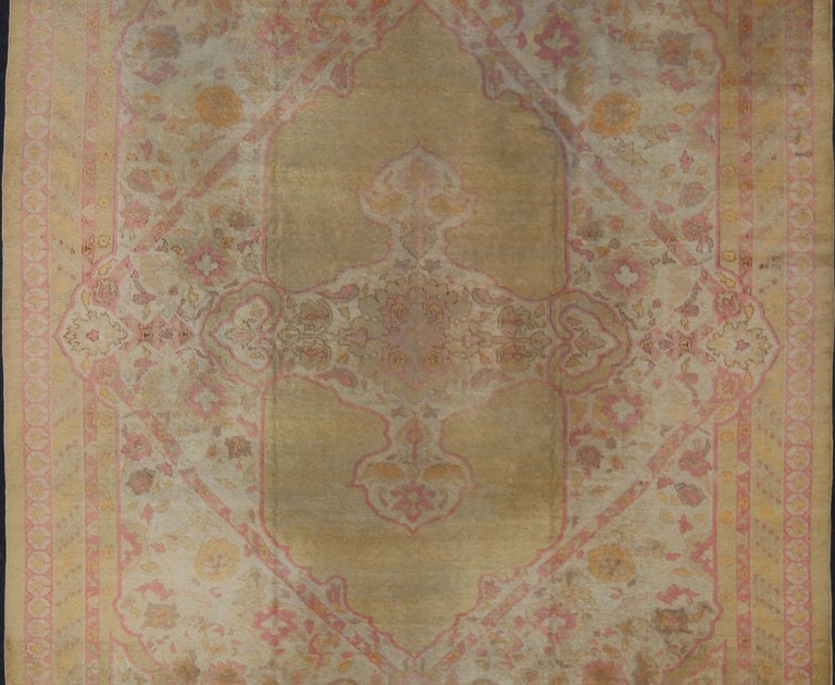 Agra Antique Indian Amritsar Rug in Acidic Yellow green, Pink and Ivory For Sale