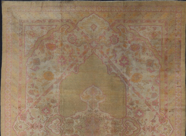 Antique Indian Amritsar Rug in Acidic Yellow green, Pink and Ivory In Good Condition For Sale In Atlanta, GA