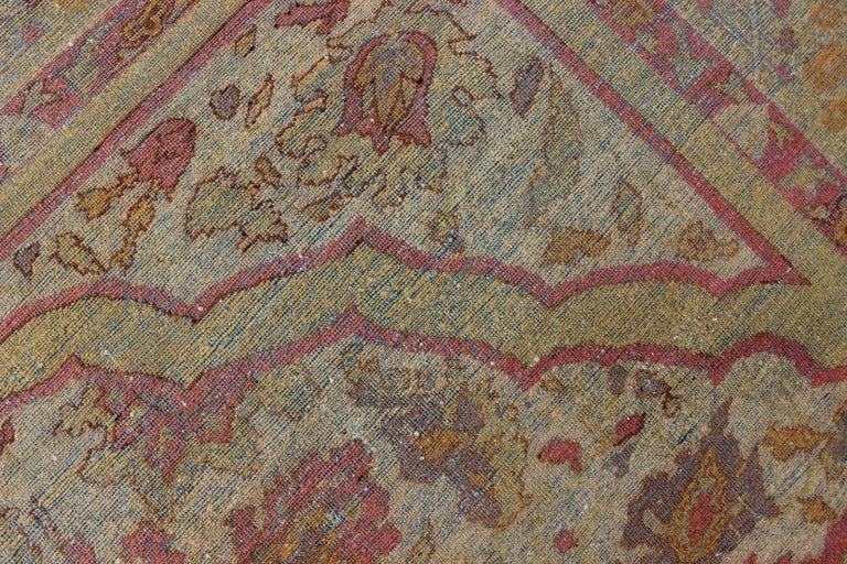 Early 20th Century Antique Indian Amritsar Rug in Acidic Yellow green, Pink and Ivory For Sale