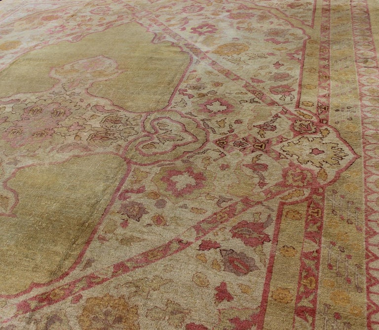 Antique Indian Amritsar Rug in Acidic Yellow green, Pink and Ivory For Sale 1