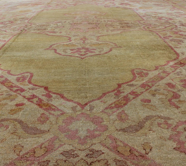 Antique Indian Amritsar Rug in Acidic Yellow green, Pink and Ivory For Sale 2