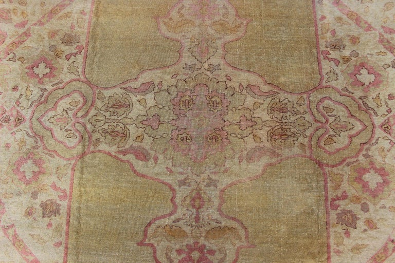 Antique Indian Amritsar Rug in Acidic Yellow green, Pink and Ivory For Sale 3
