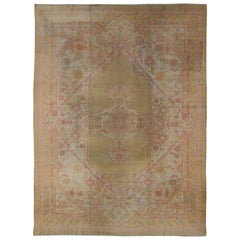 Antique Indian Amritsar Rug in Acidic Yellow green, Pink and Ivory