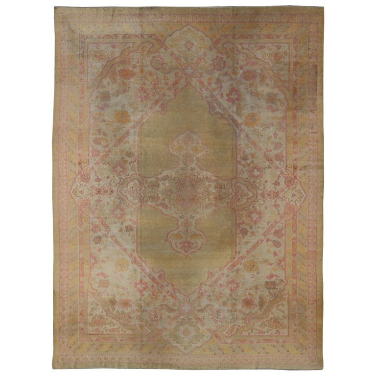 Antique Indian Amritsar Rug in Acidic Yellow green, Pink and Ivory For Sale