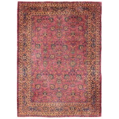 Large Antique Indian Amritsar Rug with Dewberry Red and All Over Pattern