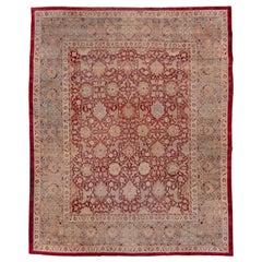 Antique Indian Amritzar Carpet, Burgundy Allover Field, Gray Borders