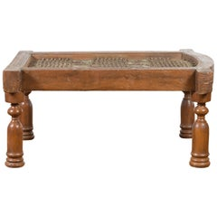 Antique Indian Arched Window Grate Made into a Coffee Table with Baluster Legs