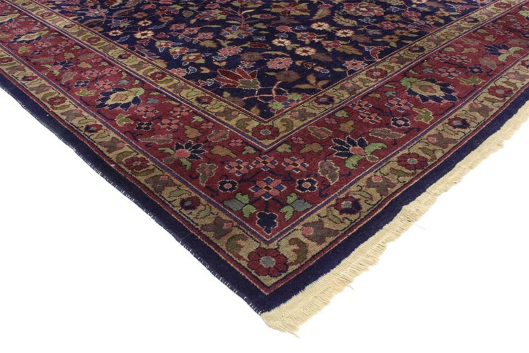 76739, antique Indian Area rug with Modern Victorian style. Rich in color, texture and beguiling ambiance, this antique Indian rug features a lavish floral pattern composed of rosettes, lilies, palmettes, cypress trees, star flowers, hyacinths,