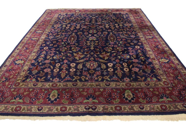 Hand-Knotted Antique Indian Area Rug with Modern Victorian Style For Sale