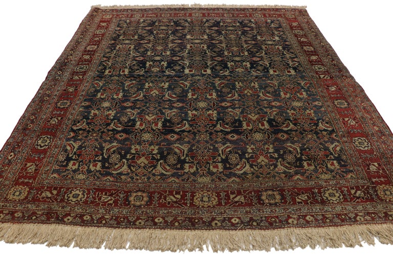 Hand-Knotted Antique Indian Area Rug with Traditional Victorian Style For Sale