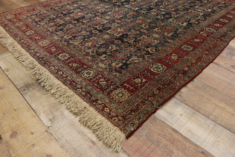 Wool Antique Indian Area Rug with Traditional Victorian Style For Sale