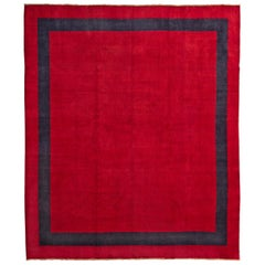 Antique Indian Art Deco Minimalist Rug with Red Open Field and Blue Border