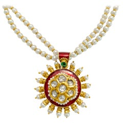 Antique Indian Basra Pearl Diamond Colombian Emerald Necklace