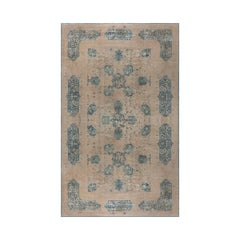 Antique Indian Beige and Sky Blue Handwoven Wool Rug