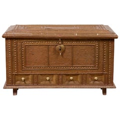 Antique Indian Blanket Chest with Bronze Sheathing, Geometric Patterns and Studs