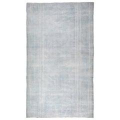 Antique Indian Blue & Ivory Flat-Woven Cotton Carpet