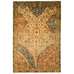 Antique Indian Blue, Yellow and Orange Handwoven Wool Carpet