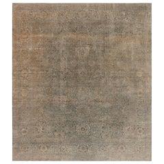 Antique Indian Botanic Handwoven Wool Rug