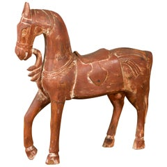 Antique Indian Carved and Painted Wooden Mogul Horse on Rectangular Base