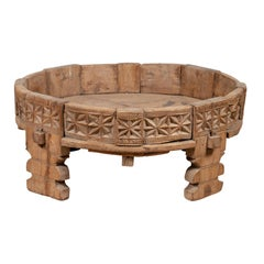Antique Indian Carved Natural Wooden Grinding Wheel Made into a Coffee Table