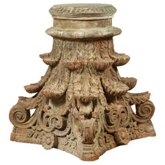 Antique Indian Corinthian Temple Capital Carving with Distressed Patina