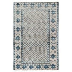 Antique Indian Cotton Agra Blue and White Rug