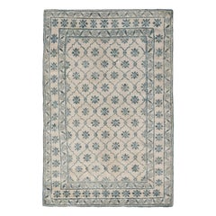 Antique Indian Cotton Agra White and Blue Rug