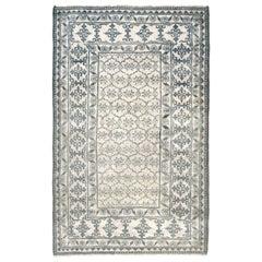 Antique Indian Cotton Agra White & Indigo Blue Rug