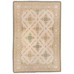 Antique Indian Cotton Dhurrie Rug, Allover Field, Green Accents