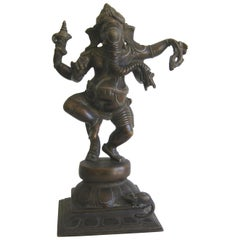 Antique Indian Dancing 4 Arm Lord Ganesha Ganesh India Bronze Statue Sculpture