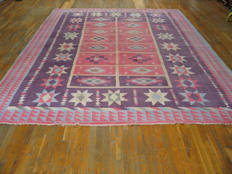 Antique Indian Dhurrie rug. Measures: 9'7