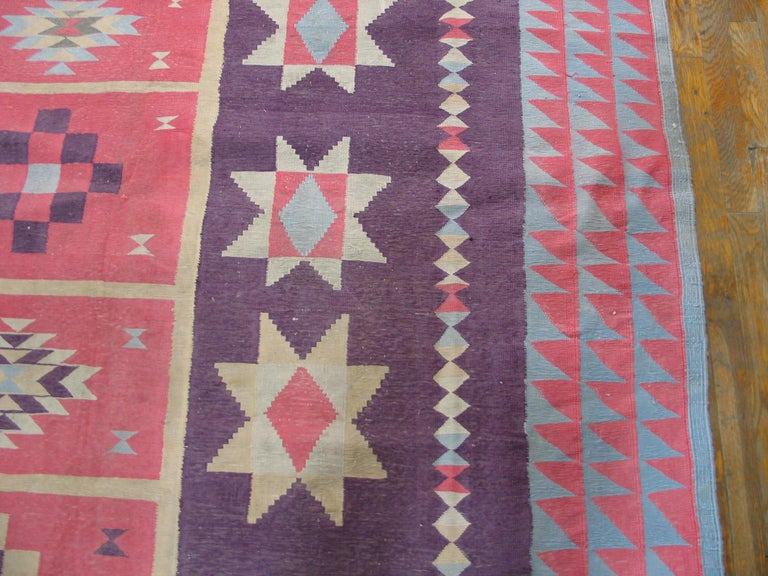 Mid-20th Century Antique Indian Dhurrie Rug For Sale