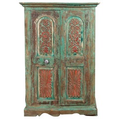 Indian Distressed Green Painted Wooden Wardrobe Cabinet with Red Accents