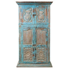 Antique Indian Distressed Wooden Cabinet with Hand Rubbed Blue Patina